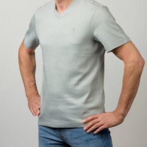 Alpaka T-Shirt V silbergrau